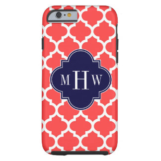 Coral Red Wht Moroccan #5 Navy 3 Initial Monogram Tough iPhone 6 Case