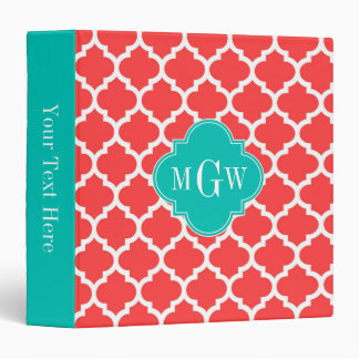Coral Red Wht Moroccan #5 Teal 3 Initial Monogram 3 Ring Binder