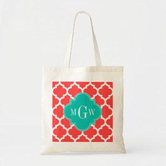 Coral Red Wht Moroccan #5 Teal 3 Initial Monogram Tote Bag