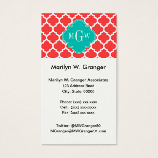 Coral Red Wht Moroccan #5 Teal 3 Initial Monogram Business Card
