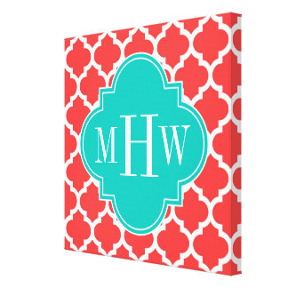 Coral Red Wht Moroccan #5 Teal 3 Initial Monogram Canvas Print