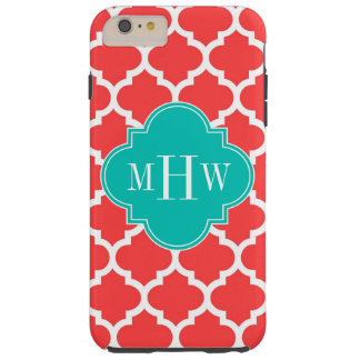 Coral Red Wht Moroccan #5 Teal 3 Initial Monogram Tough iPhone 6 Plus Case