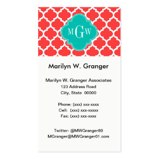 Coral Red Wht Moroccan #5 Teal 3 Initial Monogram Double-Sided Standard Business Cards (Pack Of 100)