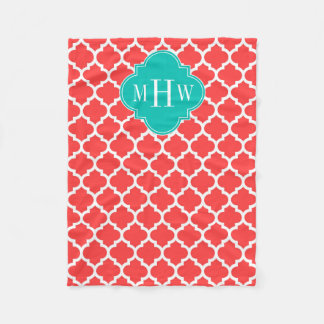 Coral Red Wht Moroccan #5 Teal 3 Initial Monogram Fleece Blanket