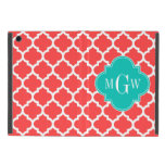 Coral Red Wht Moroccan #5 Teal 3 Initial Monogram Cases For iPad Mini
