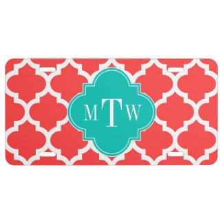 Coral Red Wht Moroccan #5 Teal 3 Initial Monogram License Plate