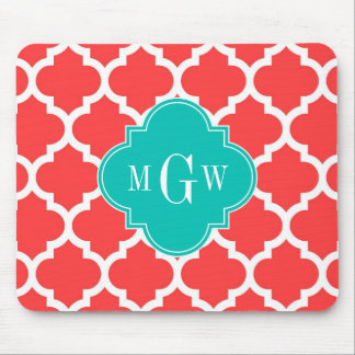 Coral Red Wht Moroccan #5 Teal 3 Initial Monogram Mouse Pad