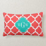 Coral Red Wht Moroccan #5 Teal 3 Initial Monogram Pillow