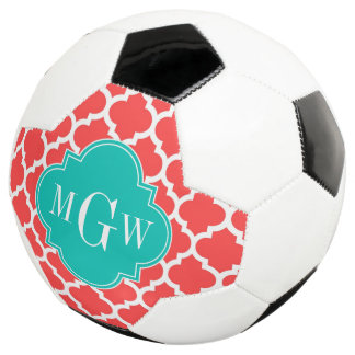 Coral Red Wht Moroccan #5 Teal 3 Initial Monogram Soccer Ball