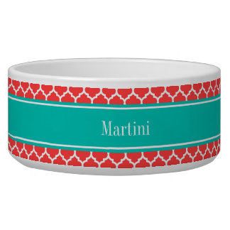 Coral Red Wht Moroccan #5 Teal Name Monogram Bowl