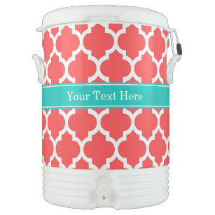Coral Red Wht Moroccan #5 Teal Name Monogram Cooler