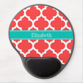 Coral Red Wht Moroccan #5 Teal Name Monogram Gel Mouse Pad