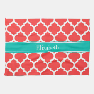 Coral Red Wht Moroccan #5 Teal Name Monogram Kitchen Towel