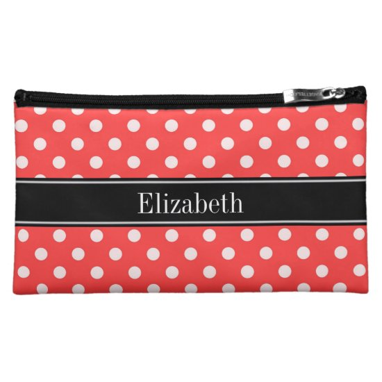 Coral Red, Wht Polka Dots Black Name Monogram Cosmetic Bag