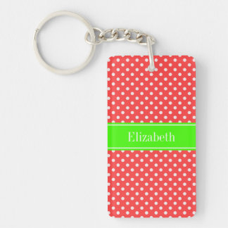 Coral Red, Wht Polka Dots Lime Green Name Monogram Keychain