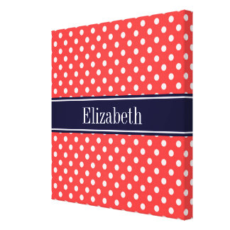 Coral Red, Wht Polka Dots Navy Blue Name Monogram Stretched Canvas Print