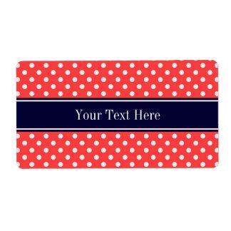 Coral Red, Wht Polka Dots Navy Blue Name Monogram Label