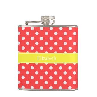 Coral Red Wht Polka Dots Yellow Name Monogram Hip Flasks