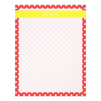 Coral Red, Wht Polka Dots Yellow Name Monogram Letterhead