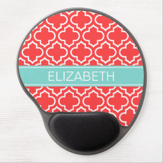 Coral Red Wt Moroccan #6 Turquoise Name Monogram Gel Mouse Pad