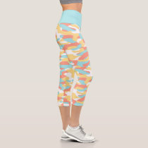 Coral Red Yellow Light Blue Camouflage Pattern Capri Leggings