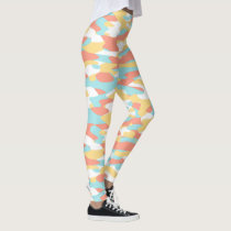 Coral Red Yellow Light Blue Camouflage Pattern Leggings