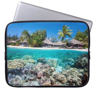 Coral reef and a tropical resort computer sleeve