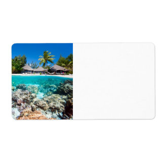Coral reef and a tropical resort label