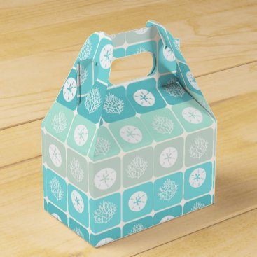 Beach Themed Coral Reef and sand dollar aqua beach  patterns Favor Box