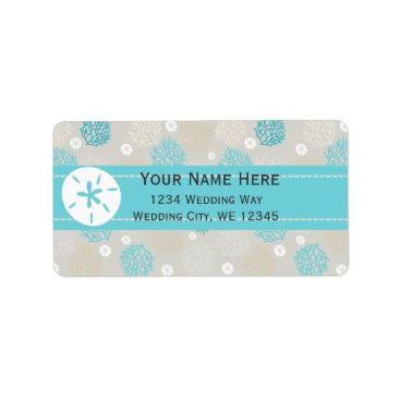 Beach Themed Coral Reef and sand dollar beach theme Label