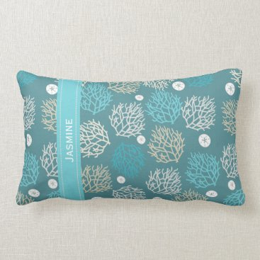 Beach Themed Coral Reef and sand dollar beach theme personalize Lumbar Pillow