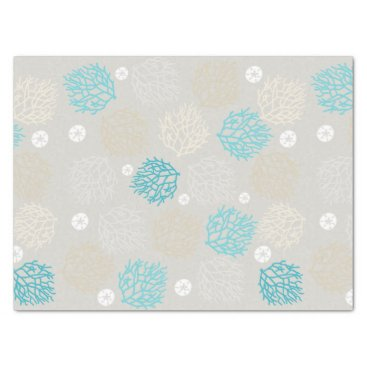 Coral Reef and sand dollar beach theme Tissue Paper