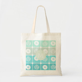 Coral reef and sand dollar patterns personalize tote bag
