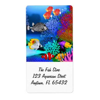 Coral Reef Aquarium Fish Label Shipping Label
