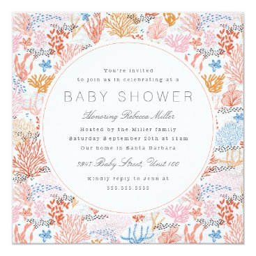 Beach Themed Coral Reef Baby Shower Card