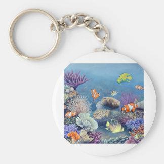 Coral Reef Basic Round Button Keychain