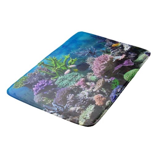 Turquoise Bath Rugs For Dry The Feet Simple Turquoise: Coral Reef Bath Mat. Bathroom Mat