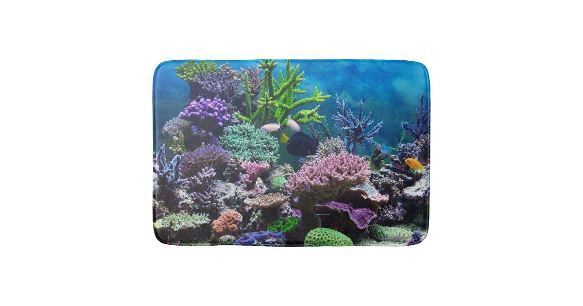Coral reef bath mat bathroom mat zazzle for Coral reef bathroom decor
