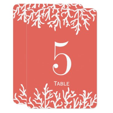 Beach Themed Coral reef beach wedding table number card