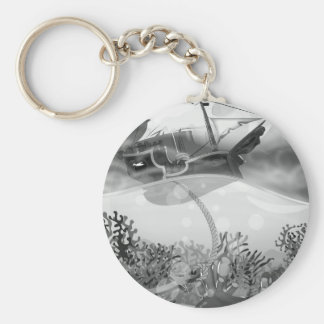 Coral Reef black and white Keychain