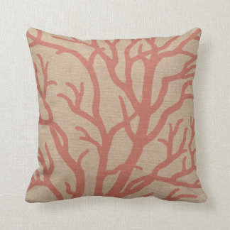 Coral Reef Branches in Coral Pink Pillow