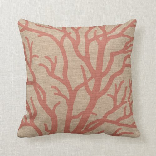Coral Reef Branches in Coral Pink Throw Pillow
