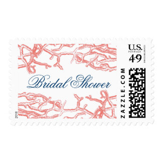 Coral Reef Bridal Shower Wedding Postage Stamps