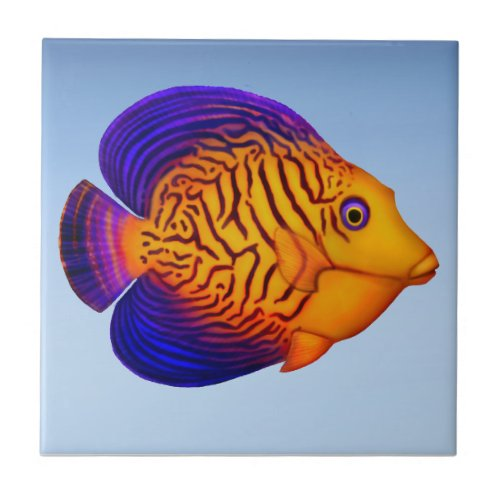 Coral Reef Chevron Tang Fish Tile