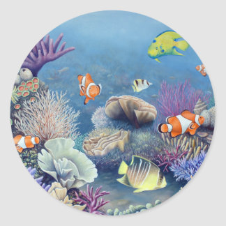 Coral Reef Classic Round Sticker