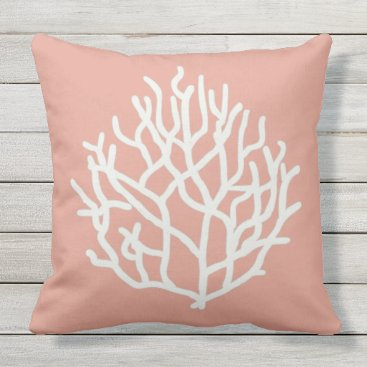 Beach Themed Coral Reef customizable background color Throw Pillow