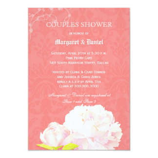 Coral Reef Damask Floral Couple Shower Card