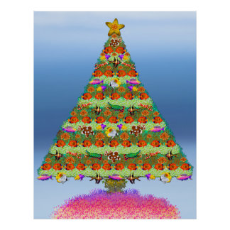 Coral Reef Fish Christmas Tree Poster