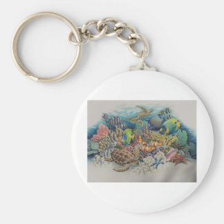 Coral Reef Fish in Symphony Basic Round Button Keychain