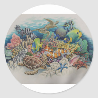 Coral Reef Fish in Symphony Classic Round Sticker